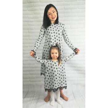 """Элегантные платья """"Снежинки"""" для мамы и доченьки. В наличии размеры XS и 98"""