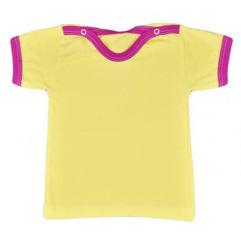 Желтая футболка с бордовым кантиком 74 размера