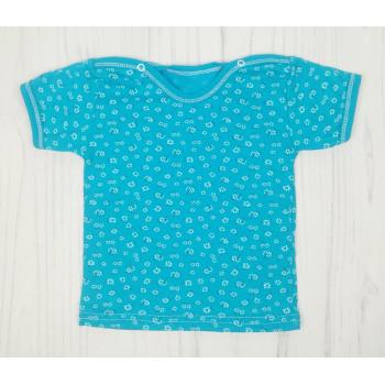 Детская футболка с цветочками на голубом фоне