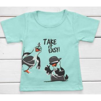 Детская ментоловая футболка Take it easy 128 размеры