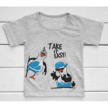 Детская серая футболка Take It easy 122 128 размеры