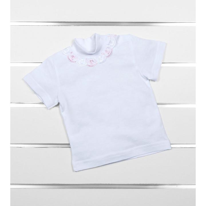Белые гольф футболки с кружевом для младенцев