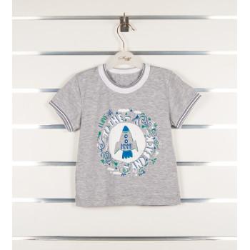 Детская серая футболка Ракета 98 110 122 размеры на мальчика 3 4 5 6 7 годика