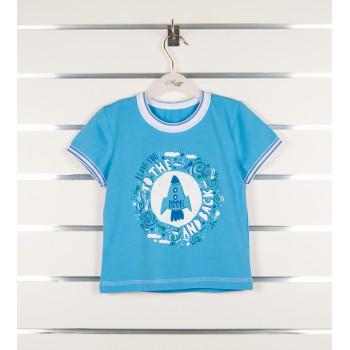 Голубая футболка Ракета 110 размер на мальчика 4 5 6 годика