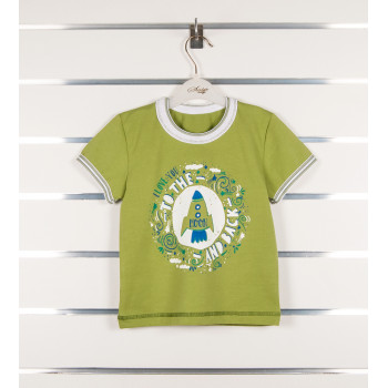Зеленая футболка Ракета 98 110 122 размеры на мальчика 3 4 5 6 7 годика