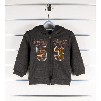 "Теплая кофта на меху с капюшоном 86 92 размеры ""Хаки"""