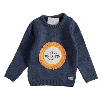 Вязаный (акрил) свитер на мальчика 1-2-3-4 год Mini Royal Темно-синий