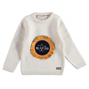 Вязаный (акрил) детский свитер 1-2-3-4 год Mini Royal Молочный 92 98 104 размеры