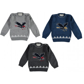 Вязаный (акрил) свитер Орел на мальчика 2-3-4-5 лет 98 104 110 размеры