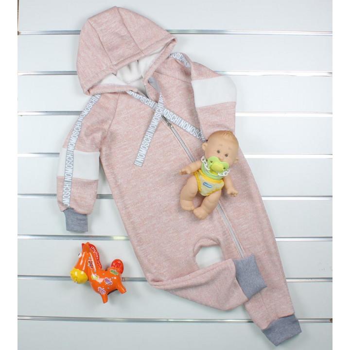Теплый розовый комбинезон 86 размера с открытыми ножками на меху для девочек 1-1.5 года