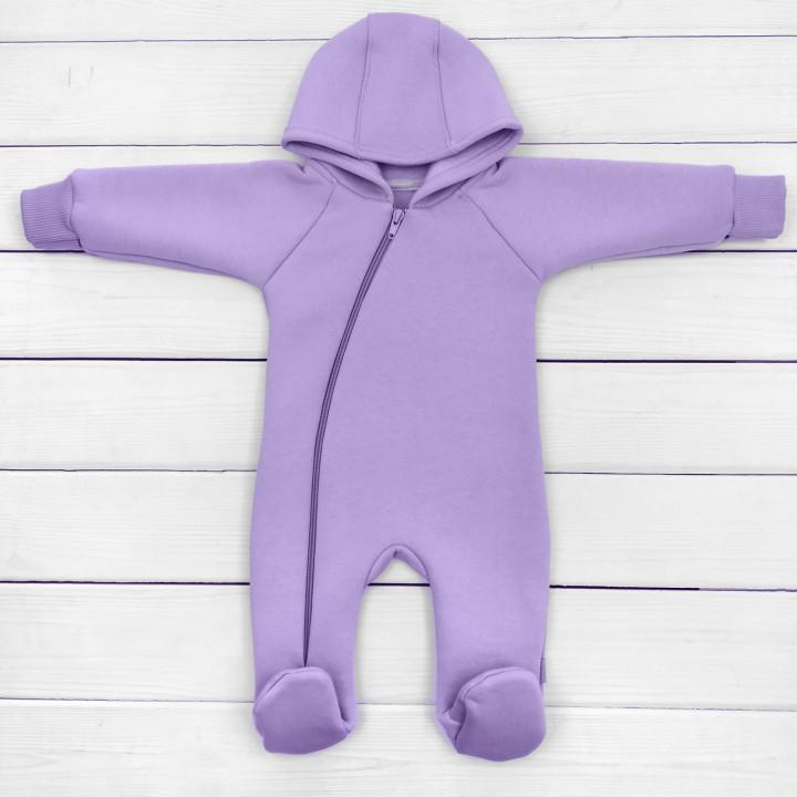 Флисовый комбинезон фиолетовый 62 Трехнитка на флисе на девочку 1-3 месяцев