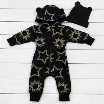 Демисезонный черный комбинезон с шапочкой 68 74 80 86 92 Трехнитка на флисе для детей 3-6-9-12-18-24 месяцев Звездочка
