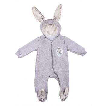 Детский серый комбинезон Murat Baby Зайчик 62 68 74 80 р. Трехнитка  3, 6, 9, 12 месяцев