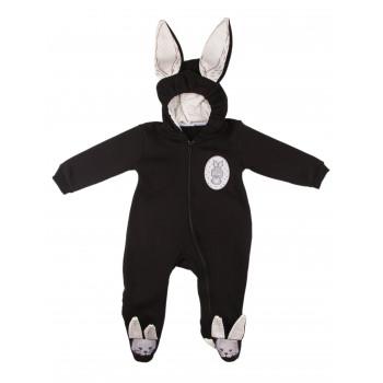 Детский черный комбинезон Murat Baby Зайчик 74 80 р. Трехнитка  9, 12 месяцев