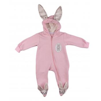 Розовый комбинезон на девочку 3-6-9 месяцев Murat Baby Зайчик 62 68 74 р. Трехнитка