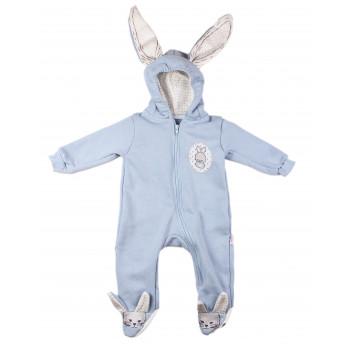 Голубой комбинезон на мальчика 3-6-9-12 месяцев Murat Baby Зайчик 62 68 74 80 р. Трехнитка