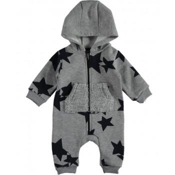 Детский комбинезон (трехнитка) ТМ Moes Звездочка Светло-серый 68 80 86 размеры