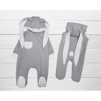 Комбинезон с ушками для новорожденных Серый Капитон 56 62 размеры