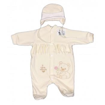 Велюровый человечек с шапочкой для новорожденных Love Mommy