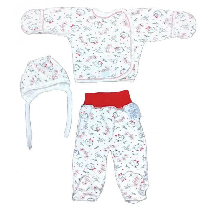 Теплый набор одежды из байки для новорожденных