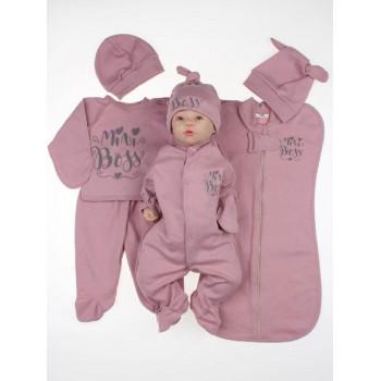 Набор одежды 7 предметов Mini Boss Бордовый для новорожденной девочке