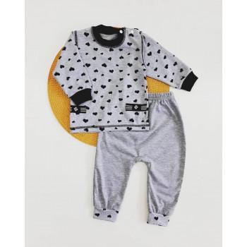 Комплект одежды (джемпер + штаны) Сердечка Кулир для девочек 74 80 86