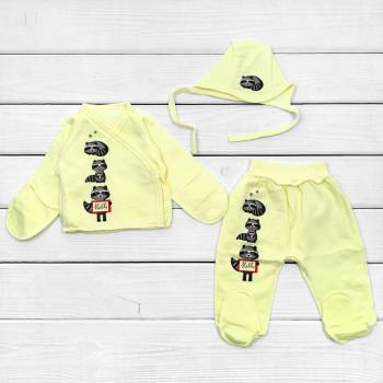 Комплект для новорожденного Желтый Футер в роддом: чепчик, распашонка и ползунки для новорожденных