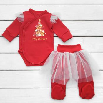 Новогодний красный комплект Merry Chrismas для новорожденных девочек