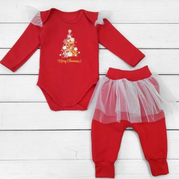 Новогодний комплект (боди+штаны) 74 80 размеры Merry Chrismas для девочек 6-9-12 месяцев