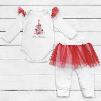 Новогодний белый комплект (боди+штаны) 68 74 80 размеры Merry Chrismas для девочек 3-6-9-12 месяцев