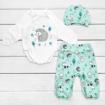Костюм (шапочка+боди+ползунки) Интерлок для новорожденных