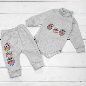 Комплект (боди + штаны) Футер Серый 74 размер для малышей