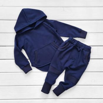 Теплый из футера комплект одежды темно-синего цвета