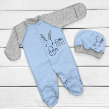 Теплый из футера человечек с шапочкой 56 62 68 размеры для новорожденных мальчиков Little Bunny