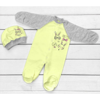 Теплый из футера человечек с шапочкой 56 62 размеры для новорожденных Pretty Cute