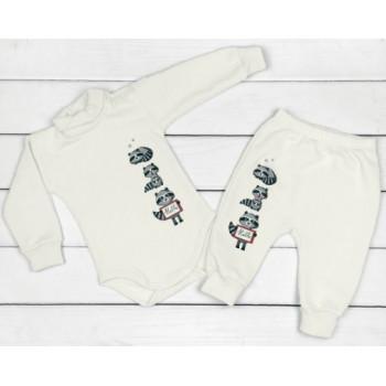 Теплый из футера комплект молочного цвета 68 80 86 размеры для малышей Енотики