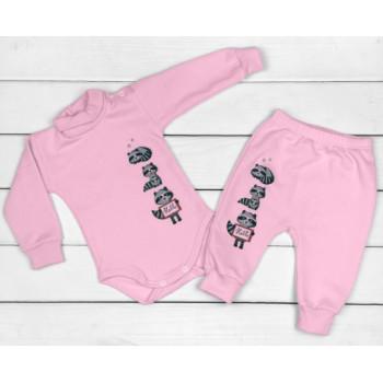 Теплый из футера комплект одежды для девочек 68 74 80 86 размеры Енотики