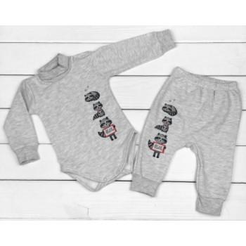 Теплый из футера серый комплект одежды 68 74 80 86 размеры для малышей Енотики