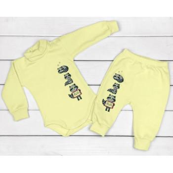 Теплый из футера желтый комплект 68 74 80 86 размеры для малышей Енотики