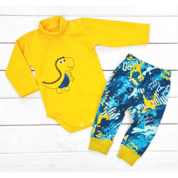 Теплый из футера комплект одежды 74 80 86 размеры для малышей Дино