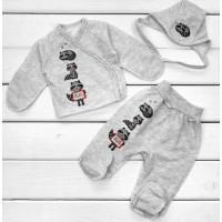 Теплый набор серого цвета для новорожденного ребенка в роддом