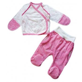 Теплый (ткань футер пенье) комплект одежды Милый Слоник для новорожденной девочке