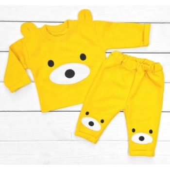 Теплый из футера желтый комплект одежды 68 74 80 размеры Мишка