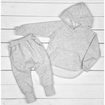 Теплый из футера комплект одежды 122 размеры серого цвета