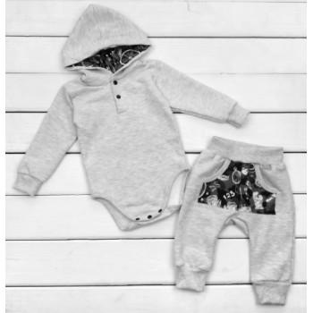 Комплект одежды Футер Размеры 86 Серый для мальчиков