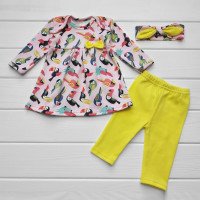 Комплект одежды платье штаны повязочка Какаду