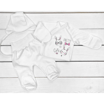 Набор одежды Футер Размеры 56 в роддом для новорожденных девочек