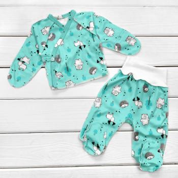 Комплект одежды Мятный Интерлок в роддом: распашонка и ползунки для новорожденных