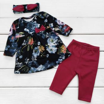 Комплект одежды: платье, штанишки и повязка 74 размер Цветы