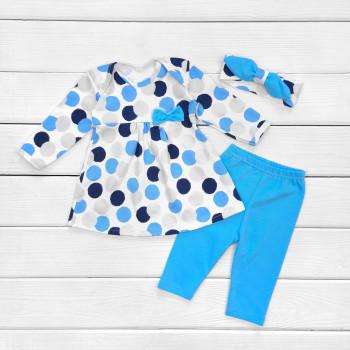 Комплект детской одежды: повязка, платье и штанишки для девочек